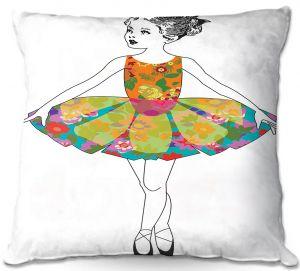Throw Pillows Decorative Artistic   Marci Cheary - Ballerina Clean   Ballet Dance Tutu Children Floral Pattern