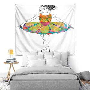 Artistic Wall Tapestry | Marci Cheary - Ballerina Clean | Ballet Dance Tutu Children Floral Pattern