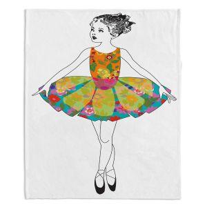 Decorative Fleece Throw Blankets | Marci Cheary - Ballerina 3 | illustration pattern portrait children