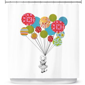 Unique Shower Curtains 71w x 74h Inches from DiaNoche Designs by Marci Cheary  - Balloons
