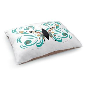 Decorative Dog Pet Beds | Marci Cheary - Butterfly White | Insect Nature Brush Strokes