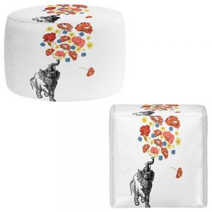 Round and Square Ottoman Foot Stools | Marci Cheary - Elephant