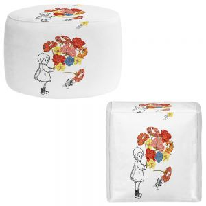 Round and Square Ottoman Foot Stools | Marci Cheary - Flower Picking