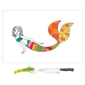 Artistic Kitchen Bar Cutting Boards | Marci Cheary - Long Mermaid | illustration pattern portrait
