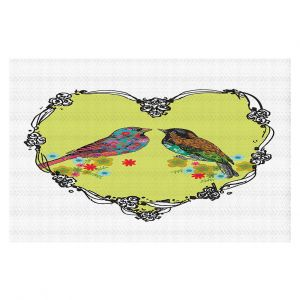 Decorative Floor Covering Mats | Marci Cheary - Love Birds | nature portrait simple illustration