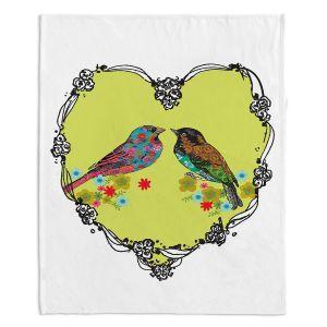 Decorative Fleece Throw Blankets | Marci Cheary - Love Birds | nature portrait simple illustration