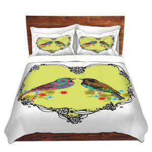 Artistic Duvet Covers and Shams Bedding | Marci Cheary - Love Birds | nature portrait simple illustration