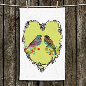 Unique Hanging Tea Towels | Marci Cheary - Love Birds | nature portrait simple illustration