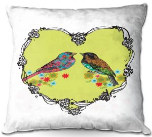 Decorative Outdoor Patio Pillow Cushion | Marci Cheary - Love Birds | nature portrait simple illustration