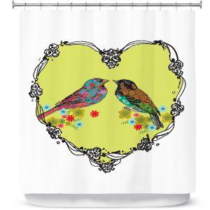 Premium Shower Curtains | Marci Cheary - Love Birds | nature portrait simple illustration
