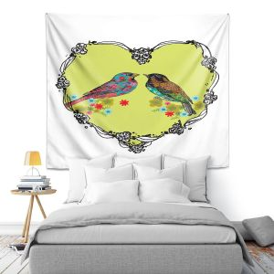 Artistic Wall Tapestry | Marci Cheary - Love Birds | nature portrait simple illustration