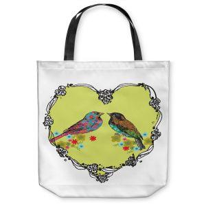 Unique Shoulder Bag Tote Bags | Marci Cheary - Love Birds | nature portrait simple illustration