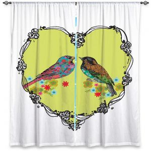 Decorative Window Treatments | Marci Cheary - Love Birds | nature portrait simple illustration