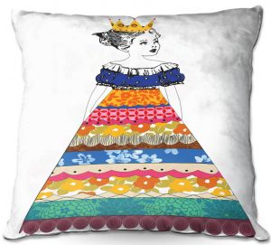 Decorative Outdoor Patio Pillow Cushion | Marci Cheary - Princess 3 | illustration pattern portrait children