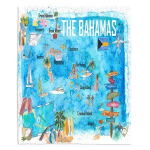 Decorative Fleece Throw Blankets | Markus Bleichner - Bahamas Travel Poster | Maps Ocean Cities Countries Travel