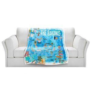 Artistic Sherpa Pile Blankets | Markus Bleichner - Bahamas Travel Poster | Maps Ocean Cities Countries Travel