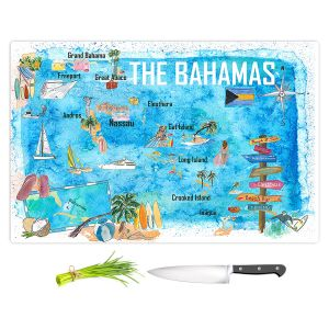 Artistic Kitchen Bar Cutting Boards | Markus Bleichner - Bahamas Travel Poster | Maps Ocean Cities Countries Travel