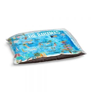Decorative Dog Pet Beds   Markus Bleichner - Bahamas Travel Poster   Maps Ocean Cities Countries Travel