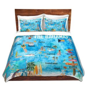 Artistic Duvet Covers and Shams Bedding | Markus Bleichner - Bahamas Travel Poster | Maps Ocean Cities Countries Travel