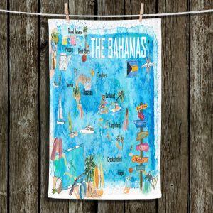 Unique Hanging Tea Towels | Markus Bleichner - Bahamas Travel Poster | Maps Ocean Cities Countries Travel