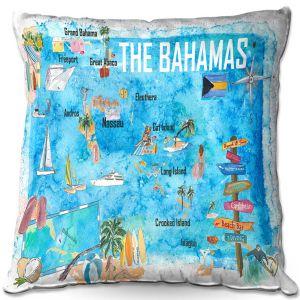 Throw Pillows Decorative Artistic | Markus Bleichner - Bahamas Travel Poster | Maps Ocean Cities Countries Travel