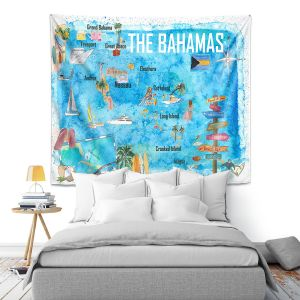 Artistic Wall Tapestry   Markus Bleichner - Bahamas Travel Poster   Maps Ocean Cities Countries Travel