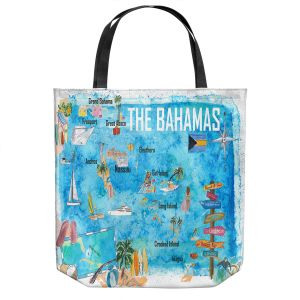 Unique Shoulder Bag Tote Bags   Markus Bleichner - Bahamas Travel Poster   Maps Ocean Cities Countries Travel