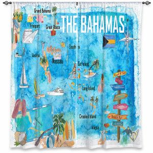 Decorative Window Treatments | Markus Bleichner - Bahamas Travel Poster | Maps Ocean Cities Countries Travel