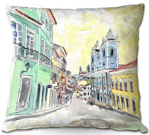Decorative Outdoor Patio Pillow Cushion | Markus Bleichner - Bahia Brazil | Landscape city scape town street