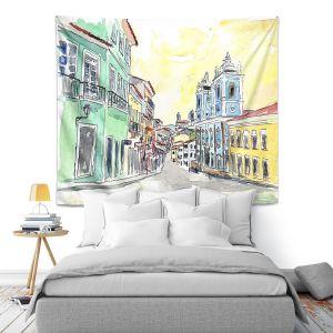 Artistic Wall Tapestry | Markus Bleichner - Bahia Brazil | Landscape city scape town street