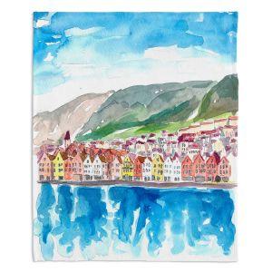 Artistic Sherpa Pile Blankets | Markus Bleichner - Bergen Norway | coast cityscape town water beach