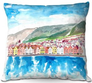 Throw Pillows Decorative Artistic | Markus Bleichner - Bergen Norway | coast cityscape town water beach