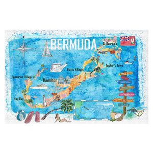 Decorative Floor Covering Mats | Markus Bleichner - Bermuda Travel Poster | Maps Ocean Cities Countries Travel