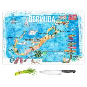 Artistic Kitchen Bar Cutting Boards | Markus Bleichner - Bermuda Travel Poster | Maps Ocean Cities Countries Travel