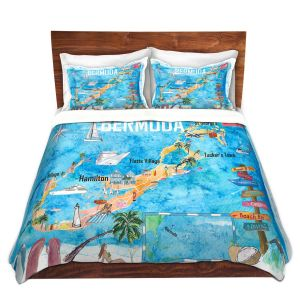 Artistic Duvet Covers and Shams Bedding | Markus Bleichner - Bermuda Travel Poster | Maps Ocean Cities Countries Travel
