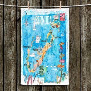 Unique Hanging Tea Towels | Markus Bleichner - Bermuda Travel Poster | Maps Ocean Cities Countries Travel