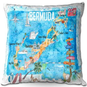Throw Pillows Decorative Artistic | Markus Bleichner - Bermuda Travel Poster | Maps Ocean Cities Countries Travel