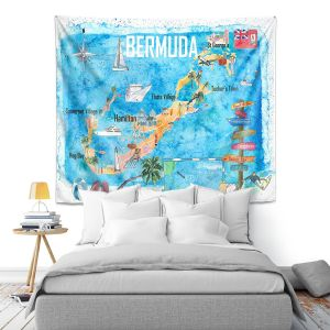 Artistic Wall Tapestry   Markus Bleichner - Bermuda Travel Poster   Maps Ocean Cities Countries Travel