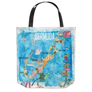 Unique Shoulder Bag Tote Bags   Markus Bleichner - Bermuda Travel Poster   Maps Ocean Cities Countries Travel
