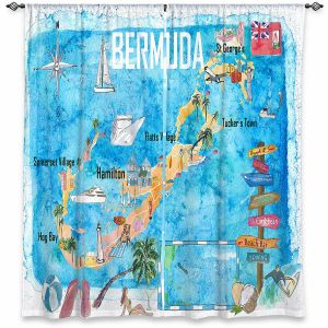 Decorative Window Treatments | Markus Bleichner - Bermuda Travel Poster | Maps Ocean Cities Countries Travel