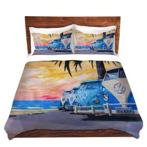 Artistic Duvet Covers and Shams Bedding | Markus Bleichner - Blue VW Bus Line