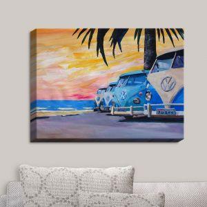 Decorative Canvas Wall Art   Markus Bleichner - Blue VW Bus Line