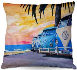 Decorative Outdoor Patio Pillow Cushion | Markus Bleichner - Blue VW Bus Line