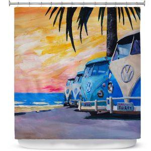 Premium Shower Curtains | Markus Bleichner Blue VW Bus Line
