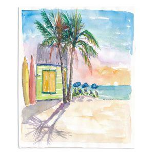 Decorative Fleece Throw Blankets | Markus Bleichner - Caribbean Sunset 2 | Landscape Beach Ocean Trees
