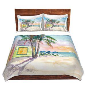 Artistic Duvet Covers and Shams Bedding   Markus Bleichner - Caribbean Sunset 2   Landscape Beach Ocean Trees