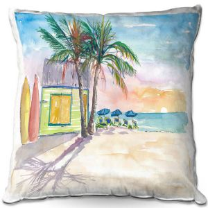 Decorative Outdoor Patio Pillow Cushion | Markus Bleichner - Caribbean Sunset 2 | Landscape Beach Ocean Trees