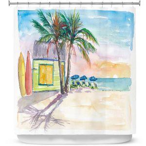 Premium Shower Curtains | Markus Bleichner - Caribbean Sunset 2 | Landscape Beach Ocean Trees