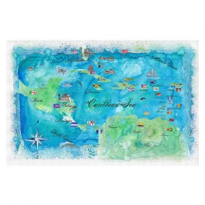 Decorative Floor Covering Mats | Markus Bleichner - Caribbean Travel Map | Caribbean Sea Mexico Florida