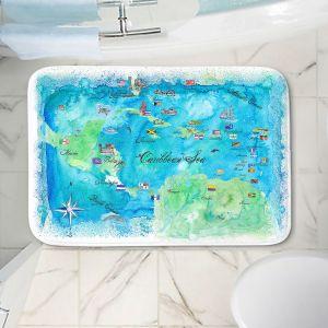 Decorative Bathroom Mats   Markus Bleichner - Caribbean Travel Map   Caribbean Sea Mexico Florida